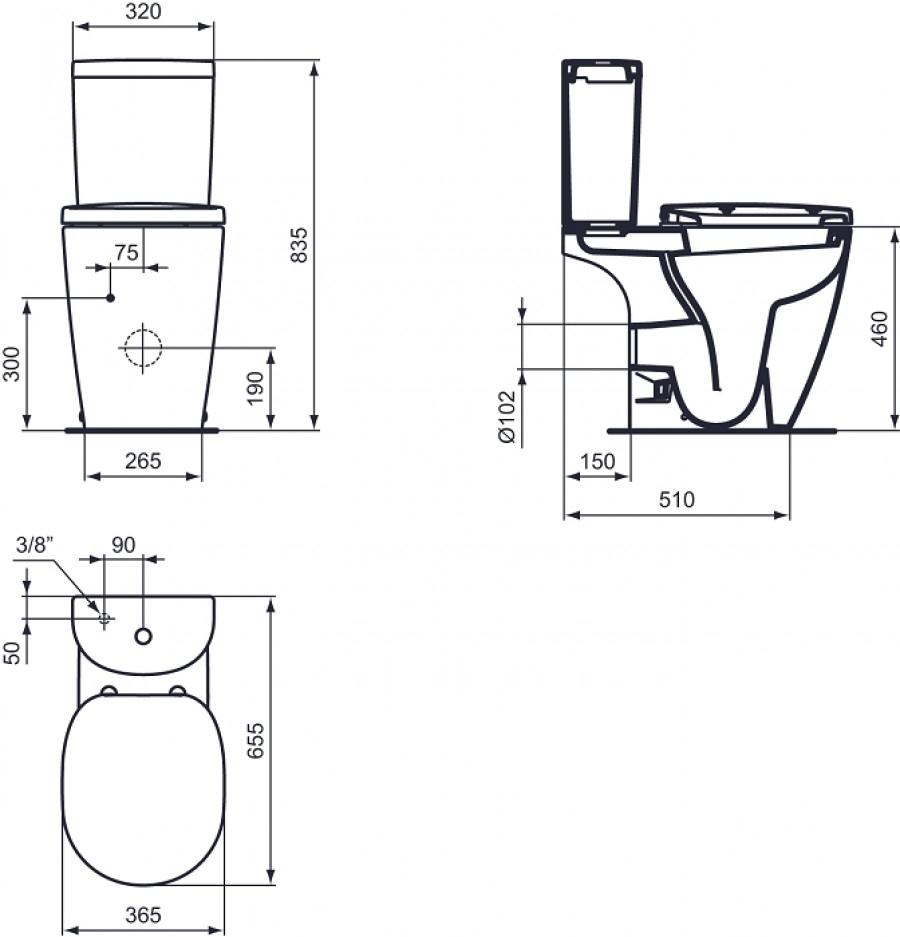 pack wc poser sur lev sortie horizontale connect. Black Bedroom Furniture Sets. Home Design Ideas