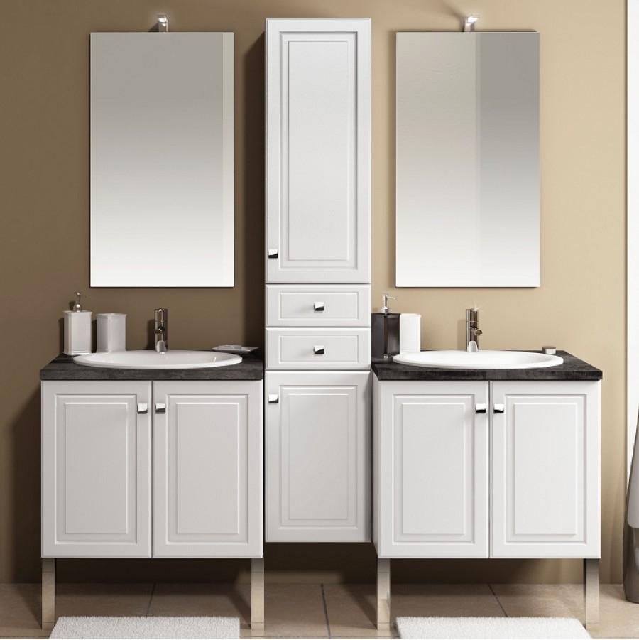 Meuble double vasque 70cm colonne int grale fr ne blanc brillantsanitaire f - Meuble vasque colonne ...