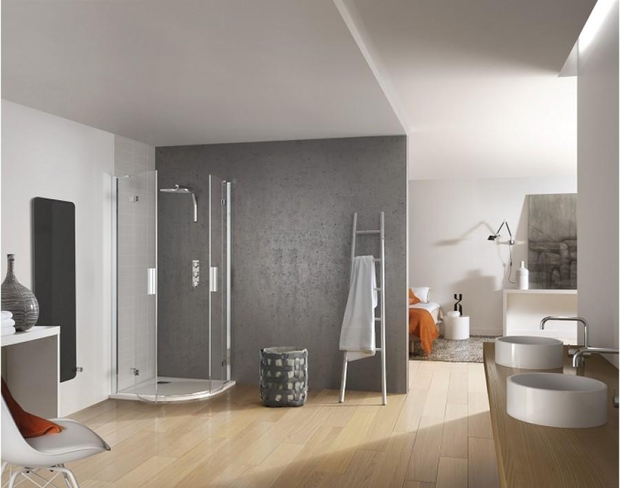 paroi de douche 1 4 rond 90x90 kinespace meuble de salle de bain douche baignoire. Black Bedroom Furniture Sets. Home Design Ideas