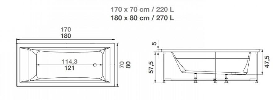 Baignoire baln o pl nitude rectangulaire 170x70 t te for Dimension baignoire droite