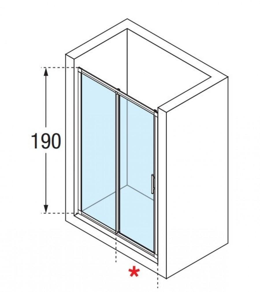 Porte de douche 2 panneaux lunes 2p 100cm transparent for Monter une porte de douche