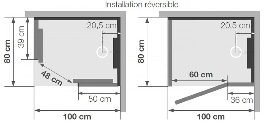 cabine de douche hydromassante hammam 100x80 kineform. Black Bedroom Furniture Sets. Home Design Ideas