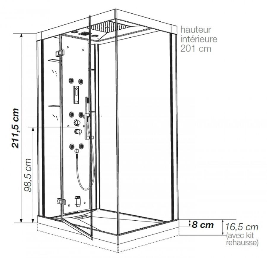 cabine de douche kineform hydro hammam 100x80 coulissante acier. Black Bedroom Furniture Sets. Home Design Ideas