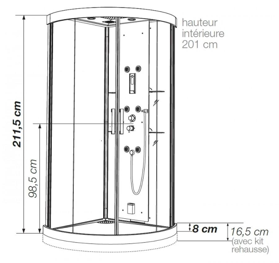 cabine de douche kineform hydro hammam 1 4 de rond 90x90 meuble de salle. Black Bedroom Furniture Sets. Home Design Ideas