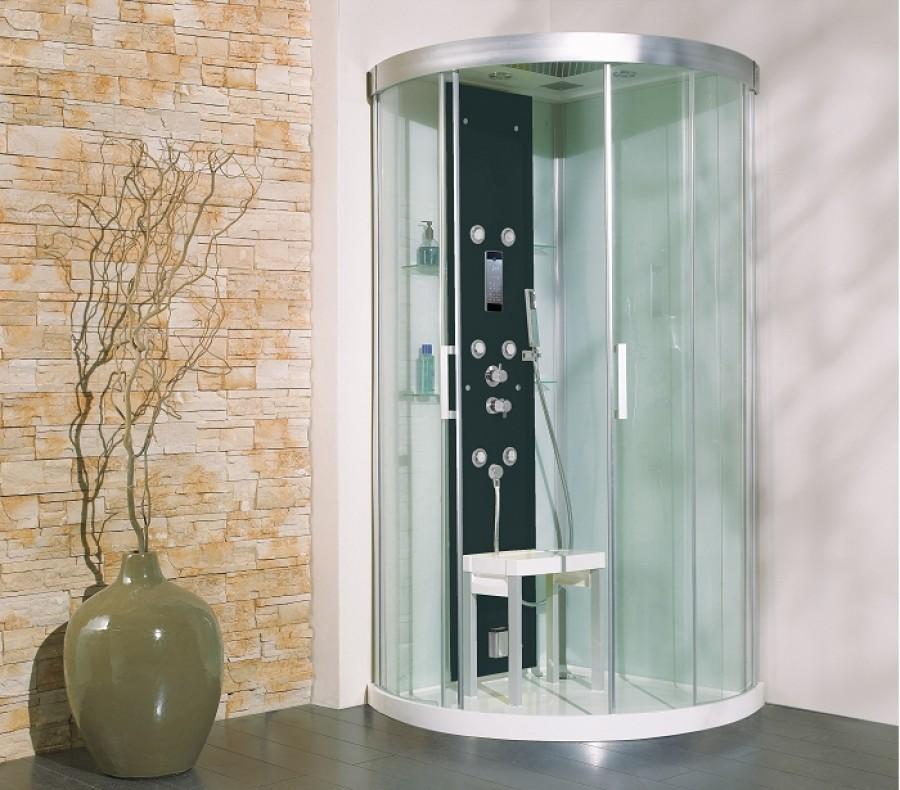 Cabine de douche kineform hydro hammam 1 4 de rond 90x90 - Cabine de douche noire ...