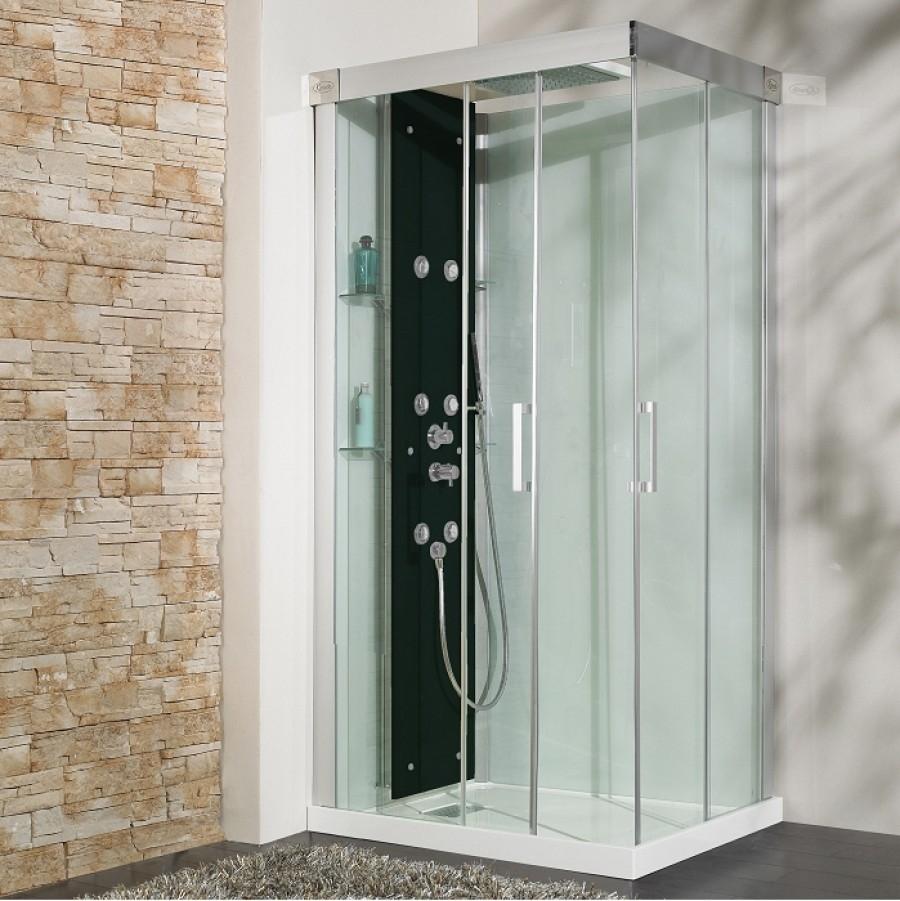 Cabine de douche hydromassante hammam 100x80 kineform 100 perle meuble de - Cabine de douche 100x80 ...