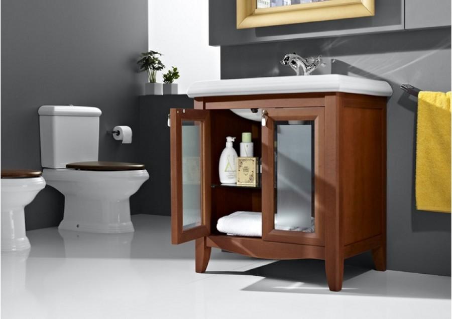 Meuble r tro simple vasque 75cm america - Meuble vasque retro ...