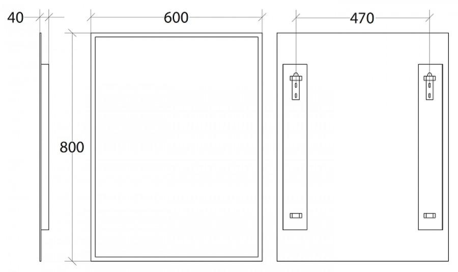 Miroir rectangulaire vertical 60x80cm biseaut mr5664 for Miroir vertical