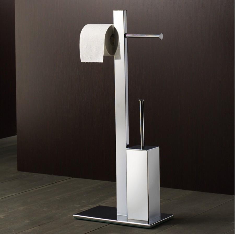 Ensemble porte papier wc et porte brosse chrom bridge 7632 - Porte papier toilette et brosse ...