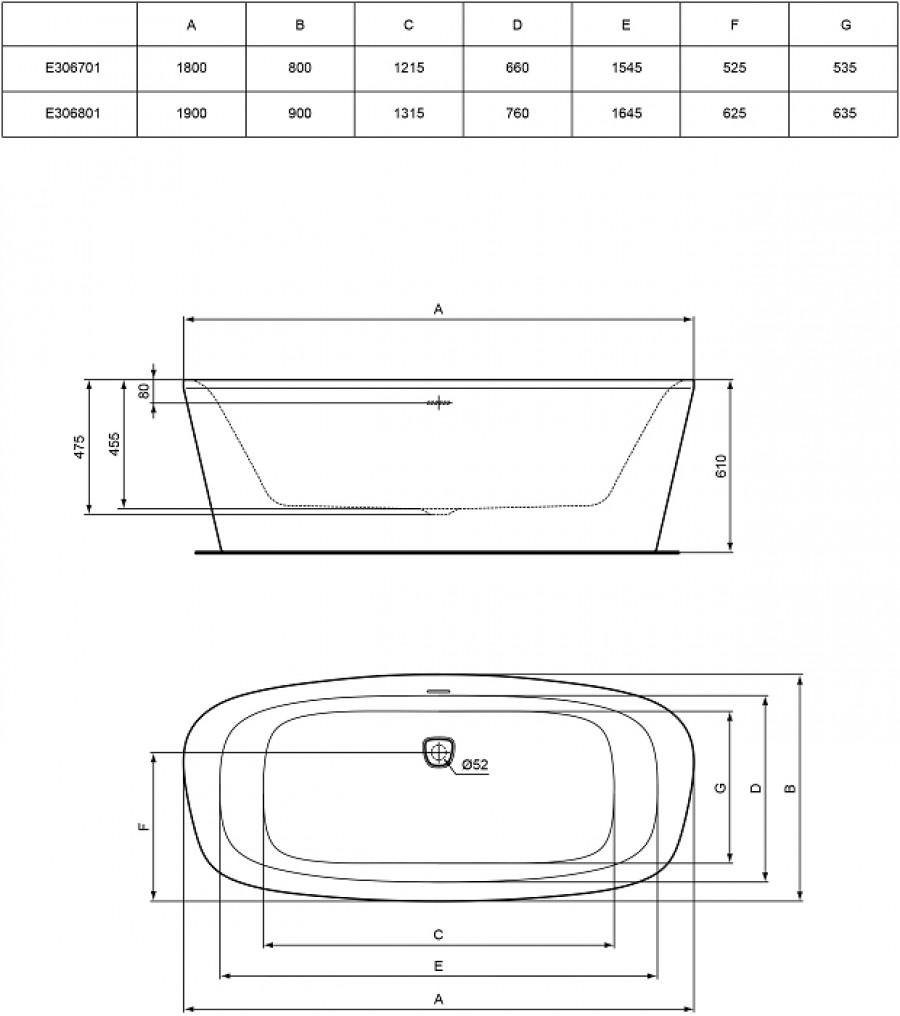 baignoire il t monobloc 180x80 d meuble de salle de bain douche baignoire. Black Bedroom Furniture Sets. Home Design Ideas