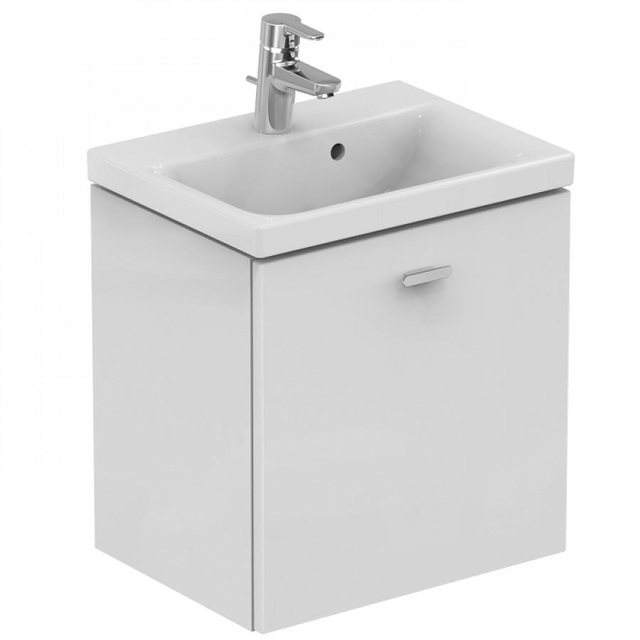 Meuble simple vasque 50cm blanc brillant connect meuble d - Meuble salle de bain 50 cm largeur ...