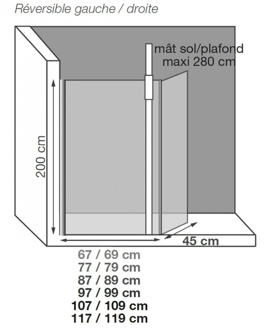 paroi de douche fixe volet pivotant kinespace duo avec m t 100 meuble de. Black Bedroom Furniture Sets. Home Design Ideas