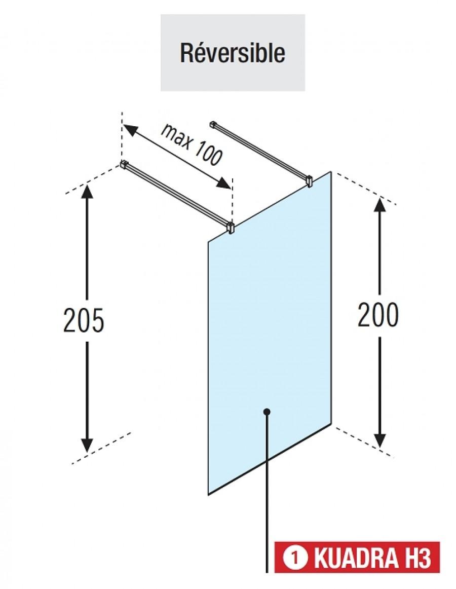 paroi de douche fixe 115cm walk in kuadra h3 serigraphi. Black Bedroom Furniture Sets. Home Design Ideas