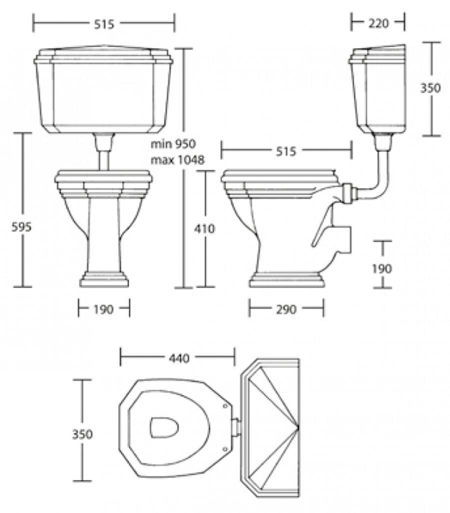 cuvette wc noir avec r servoir mi haut r tro ascott sortie meuble de. Black Bedroom Furniture Sets. Home Design Ideas