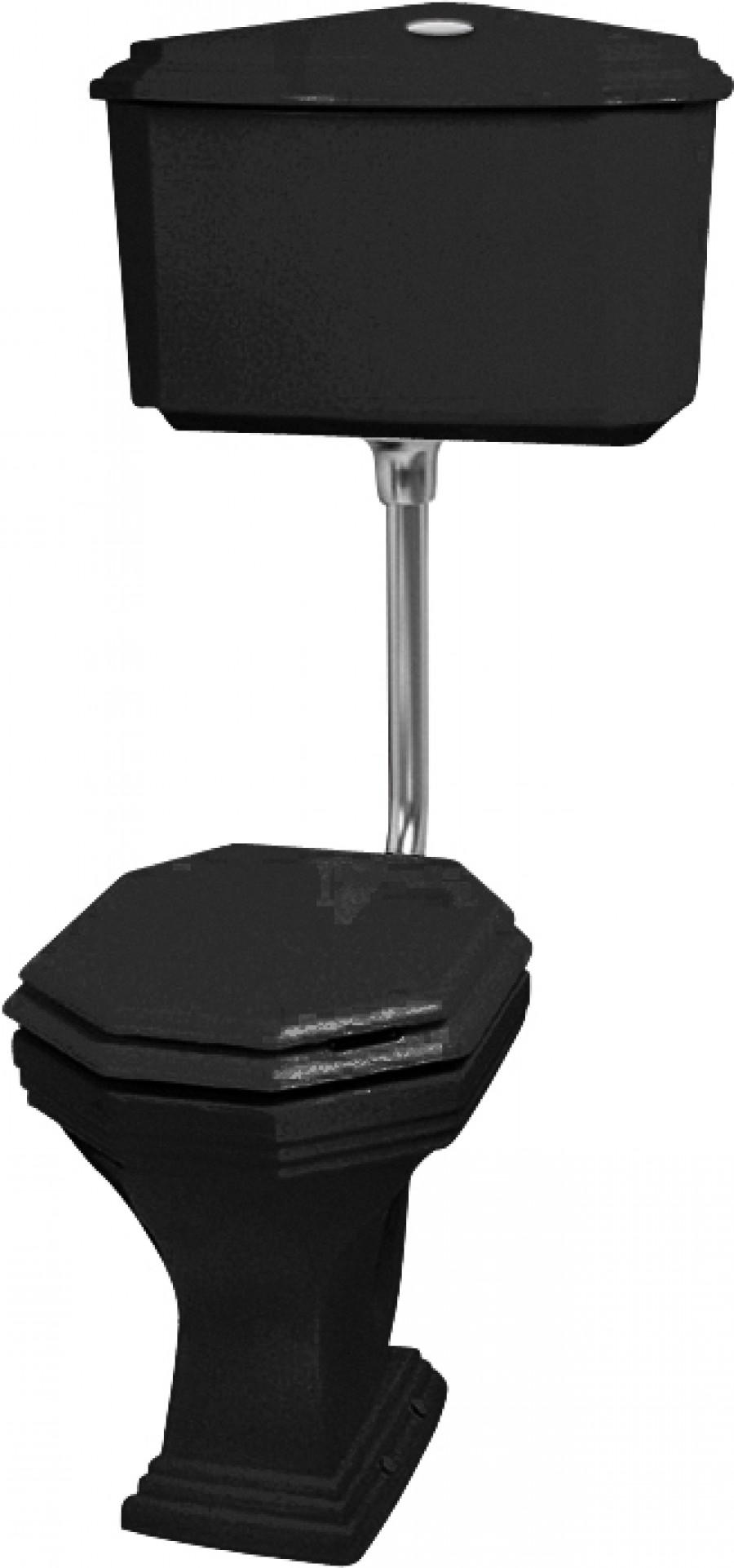 Cuvette WC noir avec réservoir mi-haut rétro Ascott sortie horizontale
