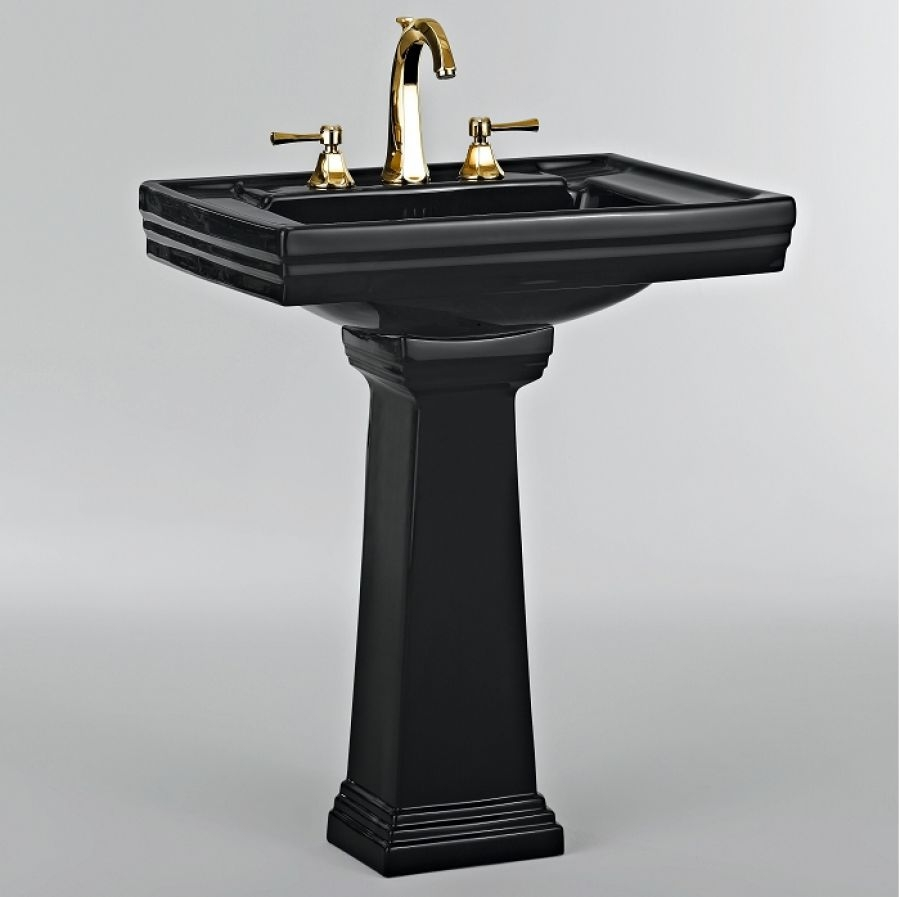 Lavabo 3 trous colonne r tro c ramique noire for Lavabo retro salle de bain
