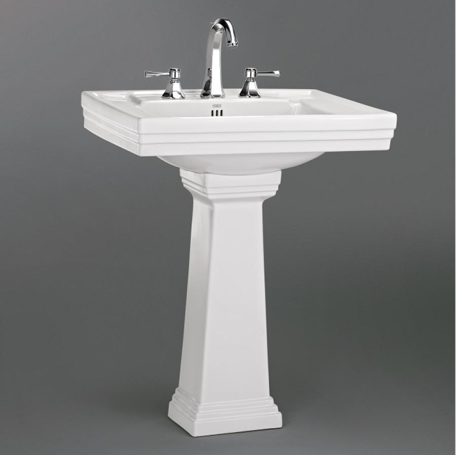 Lavabo 3 trous colonne r tro c ramique blanche for Lavabo salle de bain style ancien