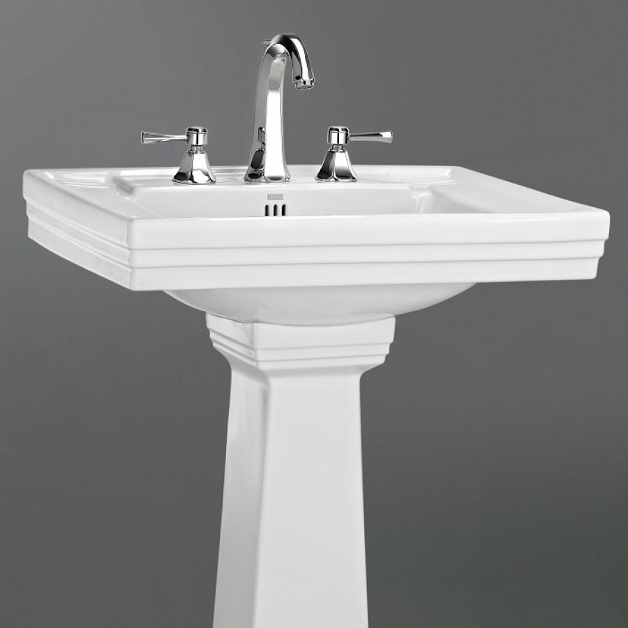 Lavabo 3 trous colonne r tro c ramique blanche meuble - Lavabo colonne retro ...