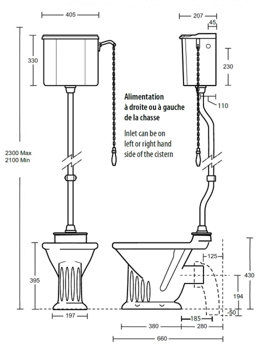 Cuvette wc avec r servoir haut r tro julia sortie for Cuvette wc sortie verticale castorama