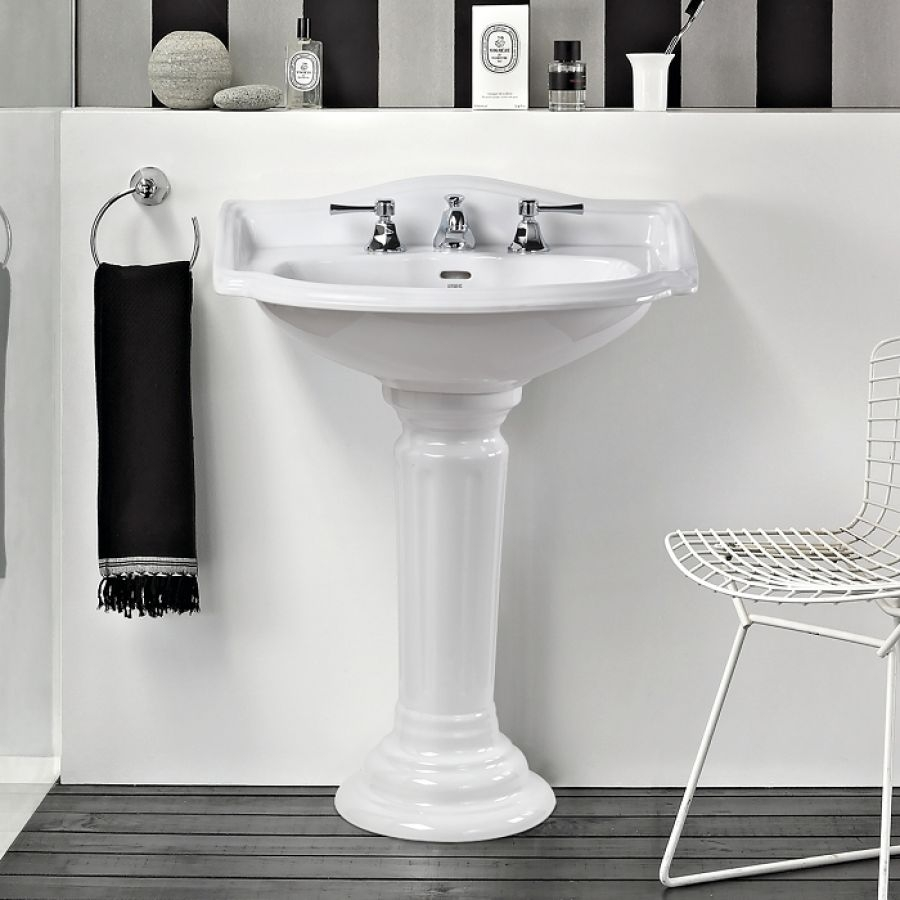 lavabo 3 trous colonne r tro c ramique blanche meuble de salle de bain. Black Bedroom Furniture Sets. Home Design Ideas