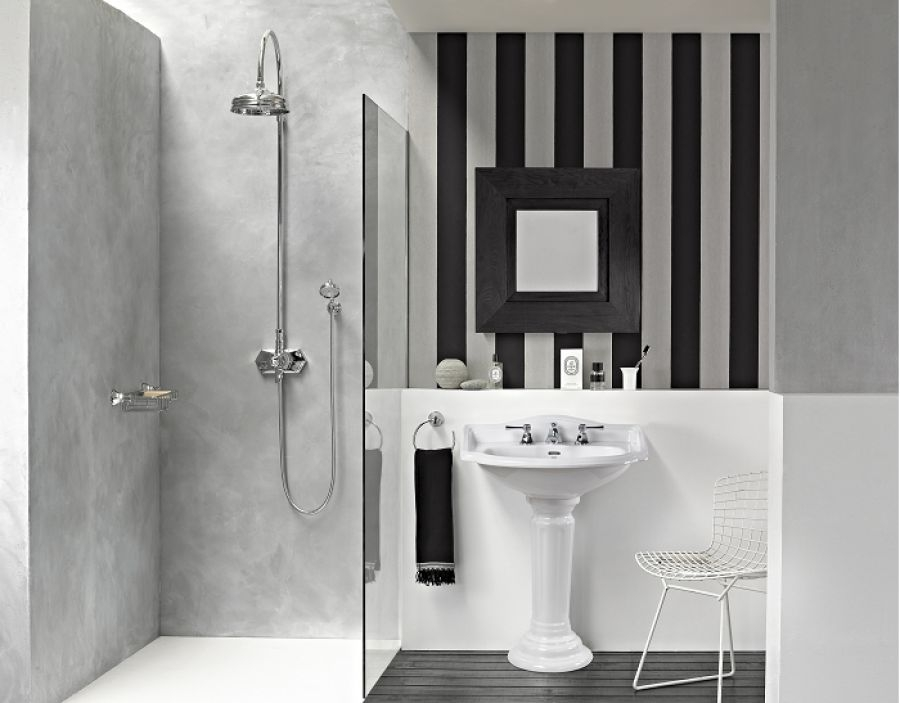 lavabo 3 trous colonne r tro c ramique blanche. Black Bedroom Furniture Sets. Home Design Ideas