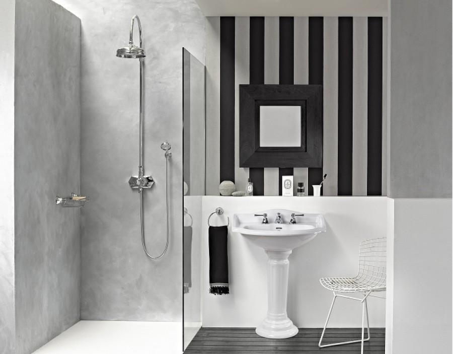 Lavabo 3 trous colonne r tro c ramique blanche for Colonne de salle de bain retro
