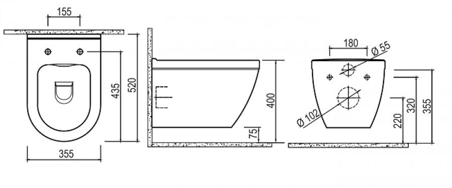 cuvette suspendue en porcelaine noire meuble de salle de bain douche. Black Bedroom Furniture Sets. Home Design Ideas