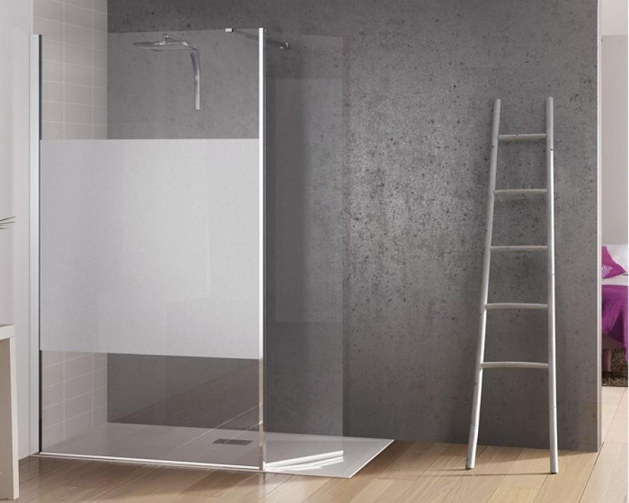 Paroi de douche fixe avec bande centrale d polie volet for Porte de douche pivotant 90