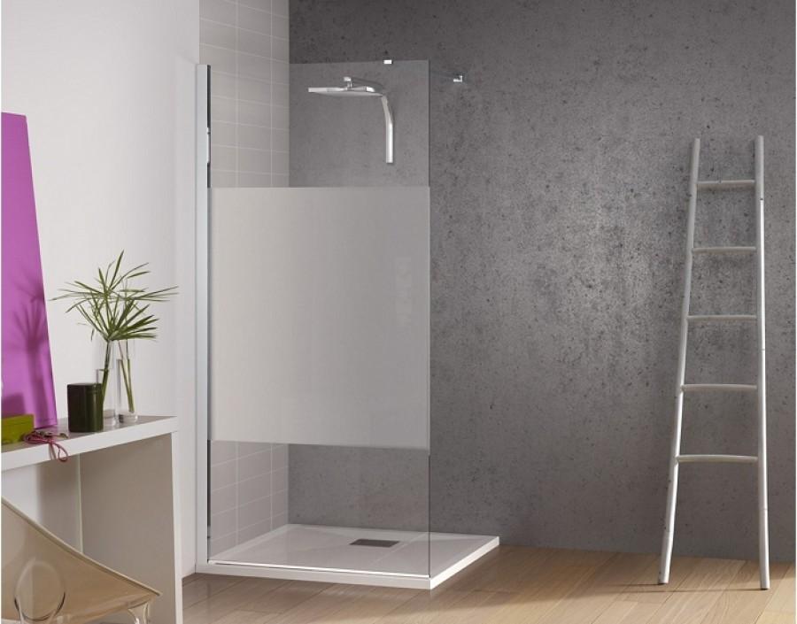 paroi de douche fixe kinespace solo avec bande centrale d polie 70 meuble de. Black Bedroom Furniture Sets. Home Design Ideas
