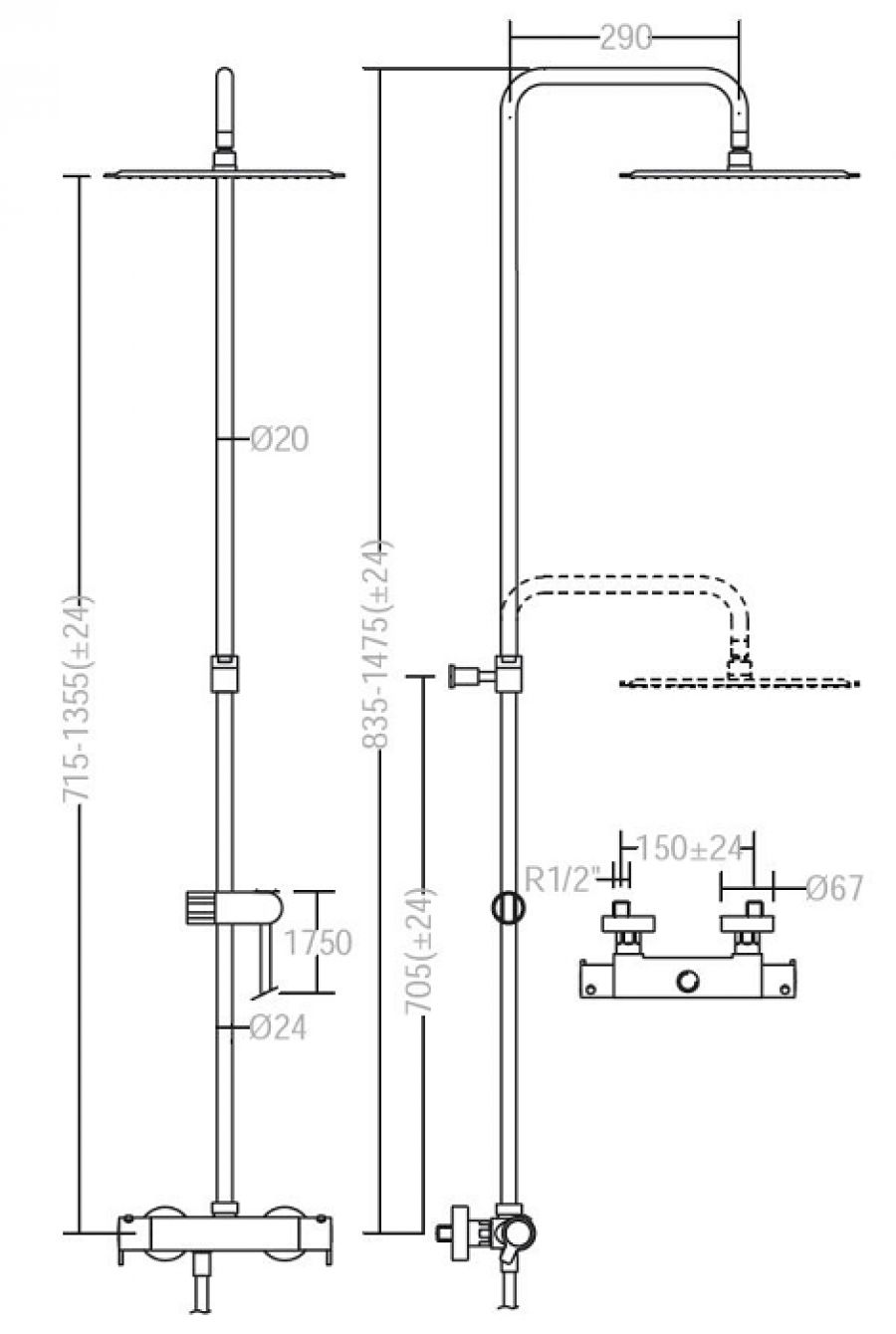 colonne de douche thermostatique blautherm 9354 rk250 meuble de salle de bain. Black Bedroom Furniture Sets. Home Design Ideas
