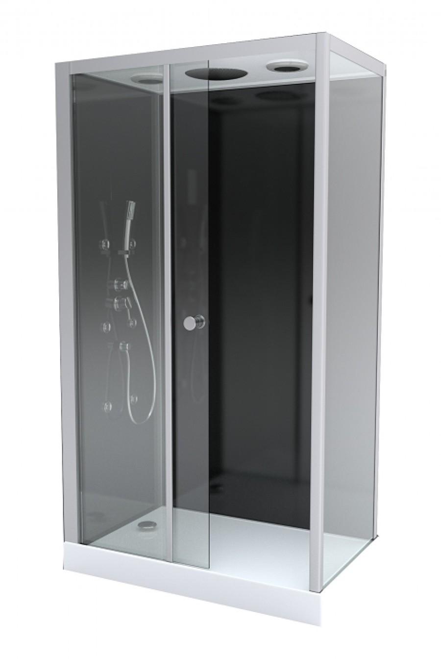 Cabine de douche rectangulaire black zen 2 - Cabine de douche rectangulaire 110 x 80 ...
