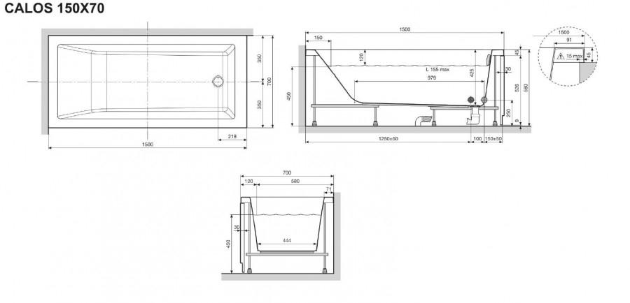 baignoire rectangulaire nue calos 150x70 avec tablier fa meuble de salle de. Black Bedroom Furniture Sets. Home Design Ideas