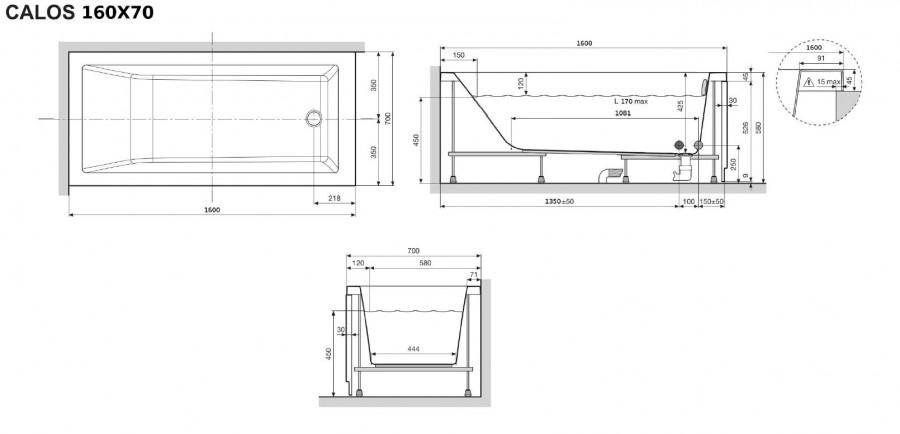 baignoire rectangulaire nue calos 160x70 sans meuble de salle de bain. Black Bedroom Furniture Sets. Home Design Ideas