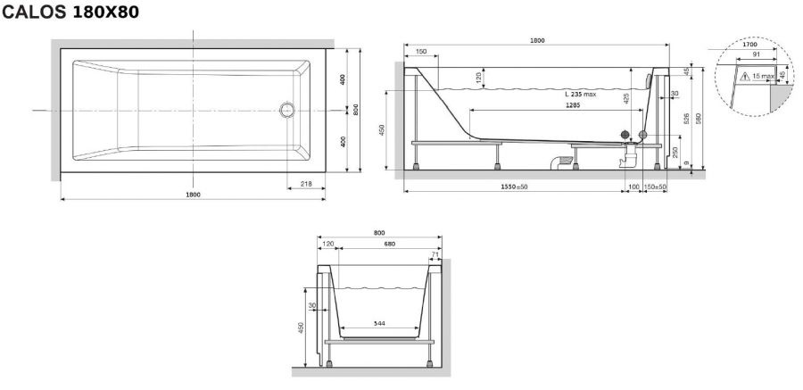 Baignoire rectangulaire nue calos 180x80 sans for Dimension des baignoires