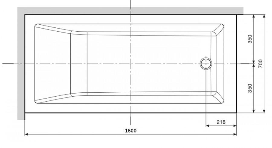 Baignoire rectangulaire nue calos 160x70 sans - Baignoire ilot 160x70 ...