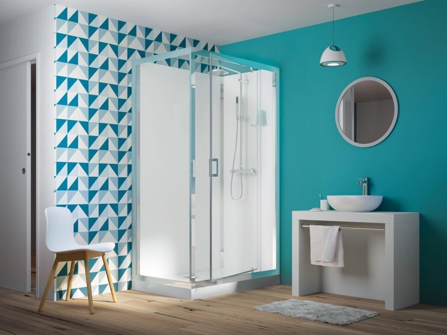 cabine de douche eden v2 rectangle porte pivotante meuble de salle de bain. Black Bedroom Furniture Sets. Home Design Ideas