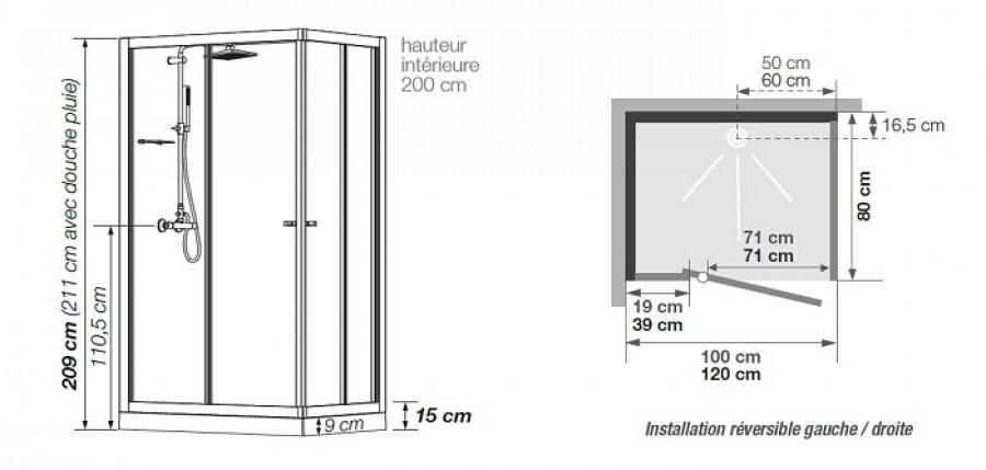 Cabine de douche eden v2 rectangle porte pivotante - Cabine de douche porte pivotante ...