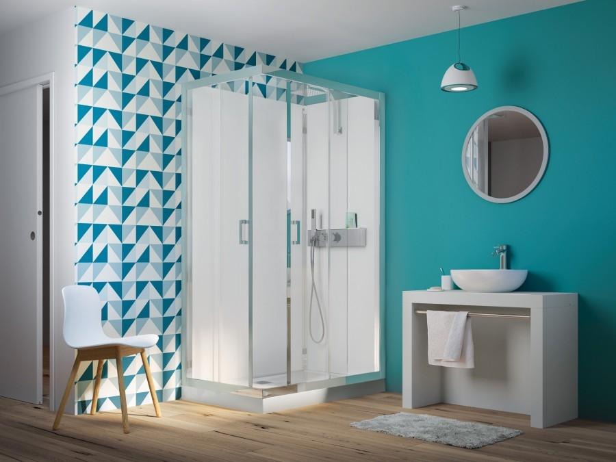 cabine de douche eden rectangle portes coulissantes 100x80. Black Bedroom Furniture Sets. Home Design Ideas