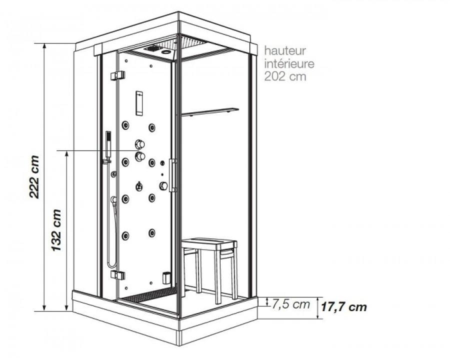 cabine de douche kinejet recyclage hydromassante 120 x meuble de salle de. Black Bedroom Furniture Sets. Home Design Ideas