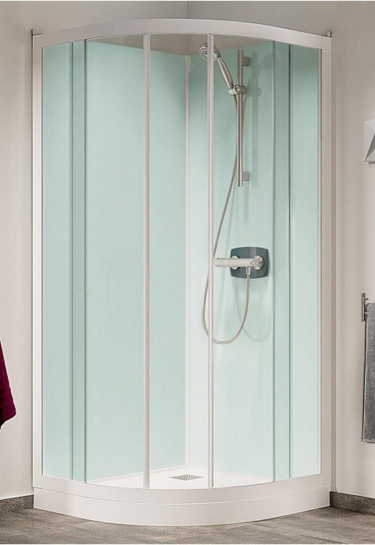 cabine de douche kineprime glass faible hauteur coulissante 1 4 de rond 90cm. Black Bedroom Furniture Sets. Home Design Ideas