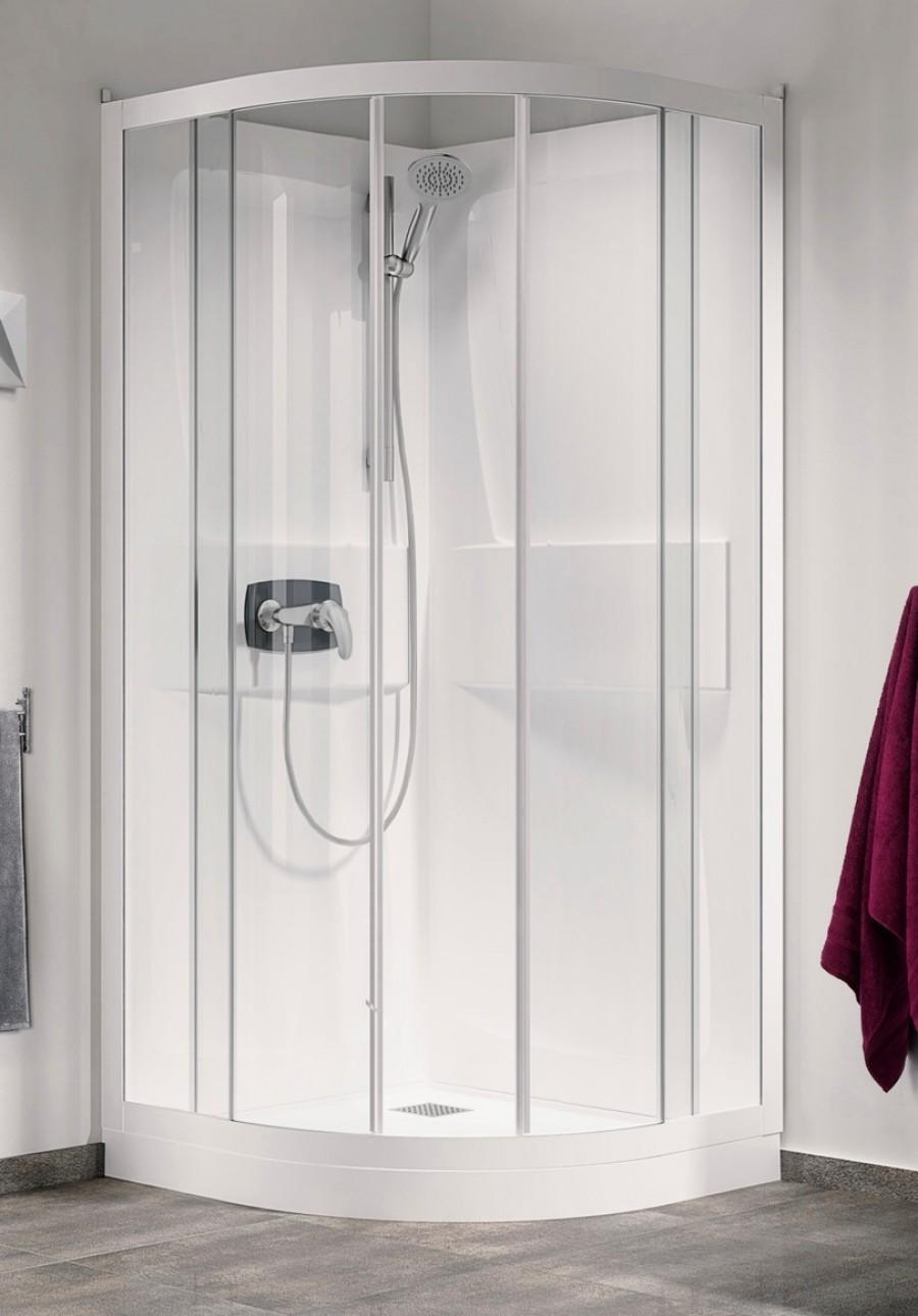 Cabine de douche Kineprime faible hauteur - Coulissante - 1/4 de Rond 80cm