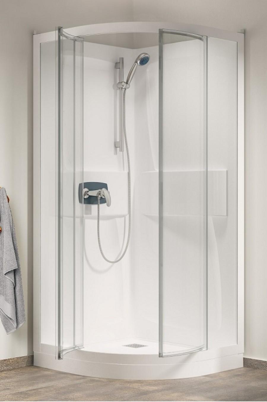 cabine de douche kineprime faible hauteur pivotante 1 4 de rond 90cm. Black Bedroom Furniture Sets. Home Design Ideas