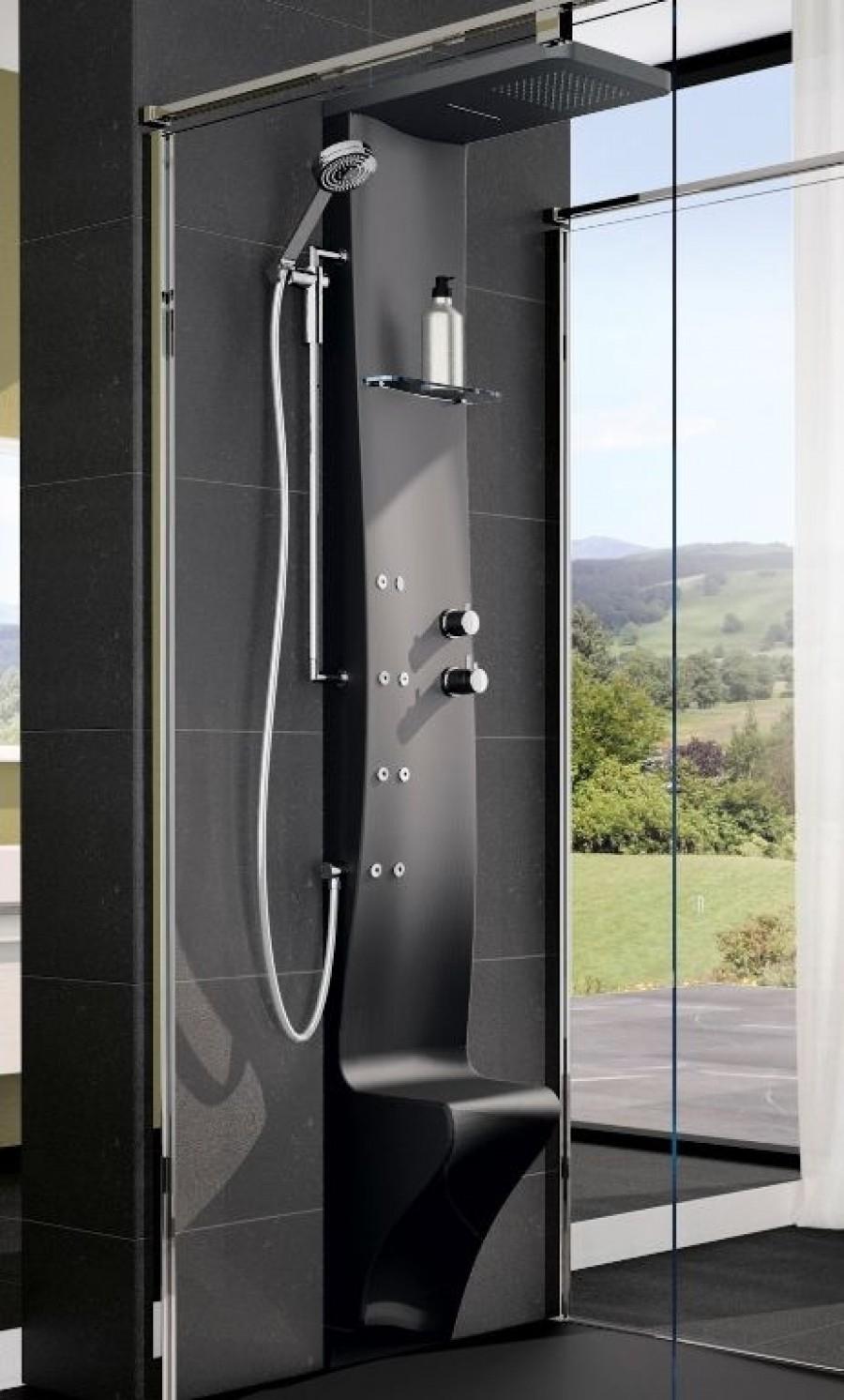colonne de douche dress plus mitigeur thermostatique noir. Black Bedroom Furniture Sets. Home Design Ideas