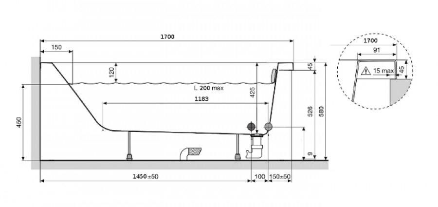 baignoire rectangulaire calos 170x75 sans tablier. Black Bedroom Furniture Sets. Home Design Ideas