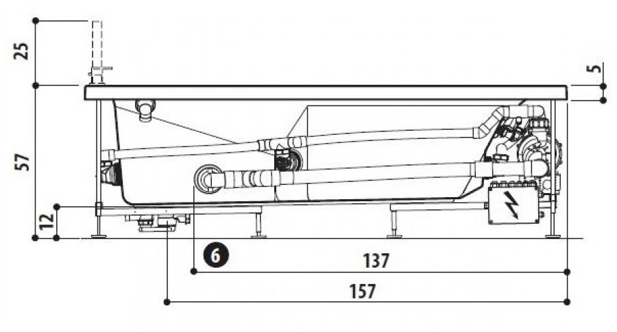 Baignoire Balneo MyWay Jacuzzi droite 180 x80 avec vidage