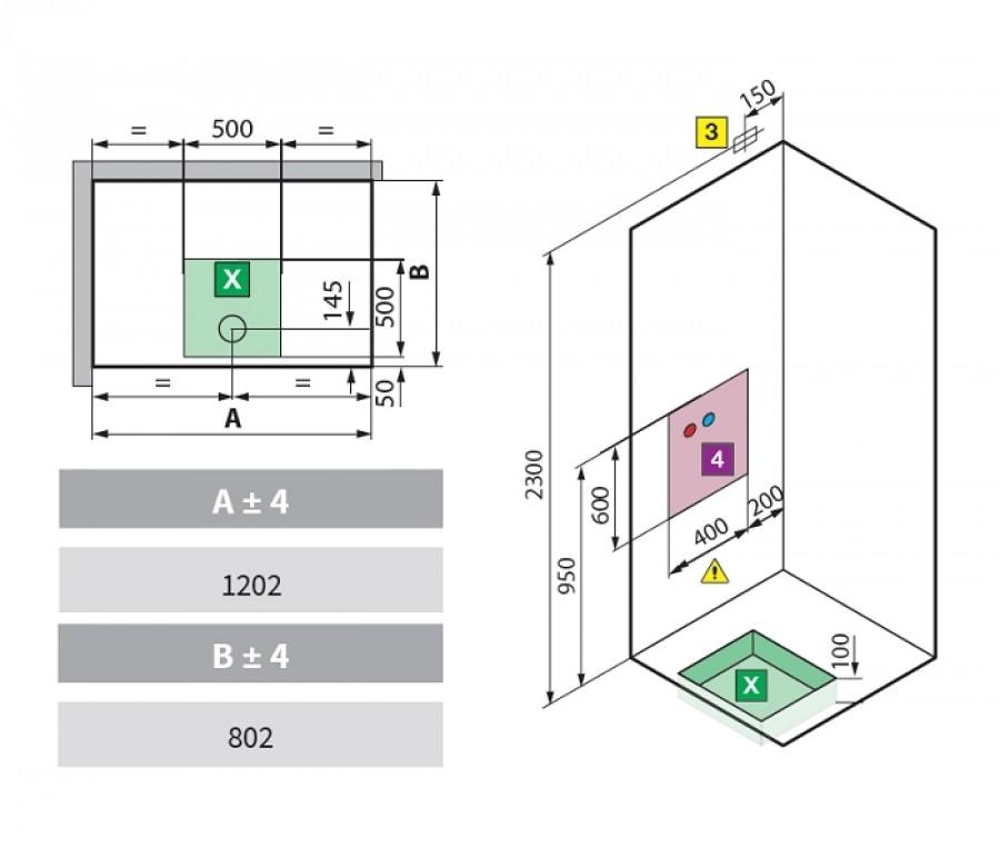 cabine eon 2p120x80 hydromassage gauche receveur extra plat meuble de salle de. Black Bedroom Furniture Sets. Home Design Ideas