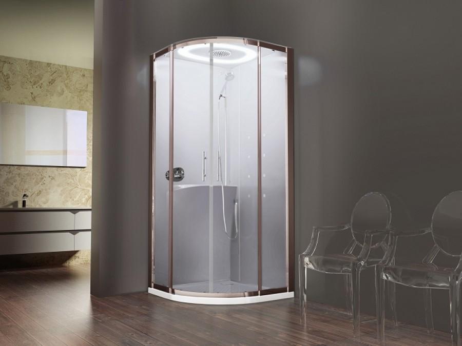 cabine eon r90 hydromassage 1 4 de rond mitigeur thermostatique receveur extra plat. Black Bedroom Furniture Sets. Home Design Ideas