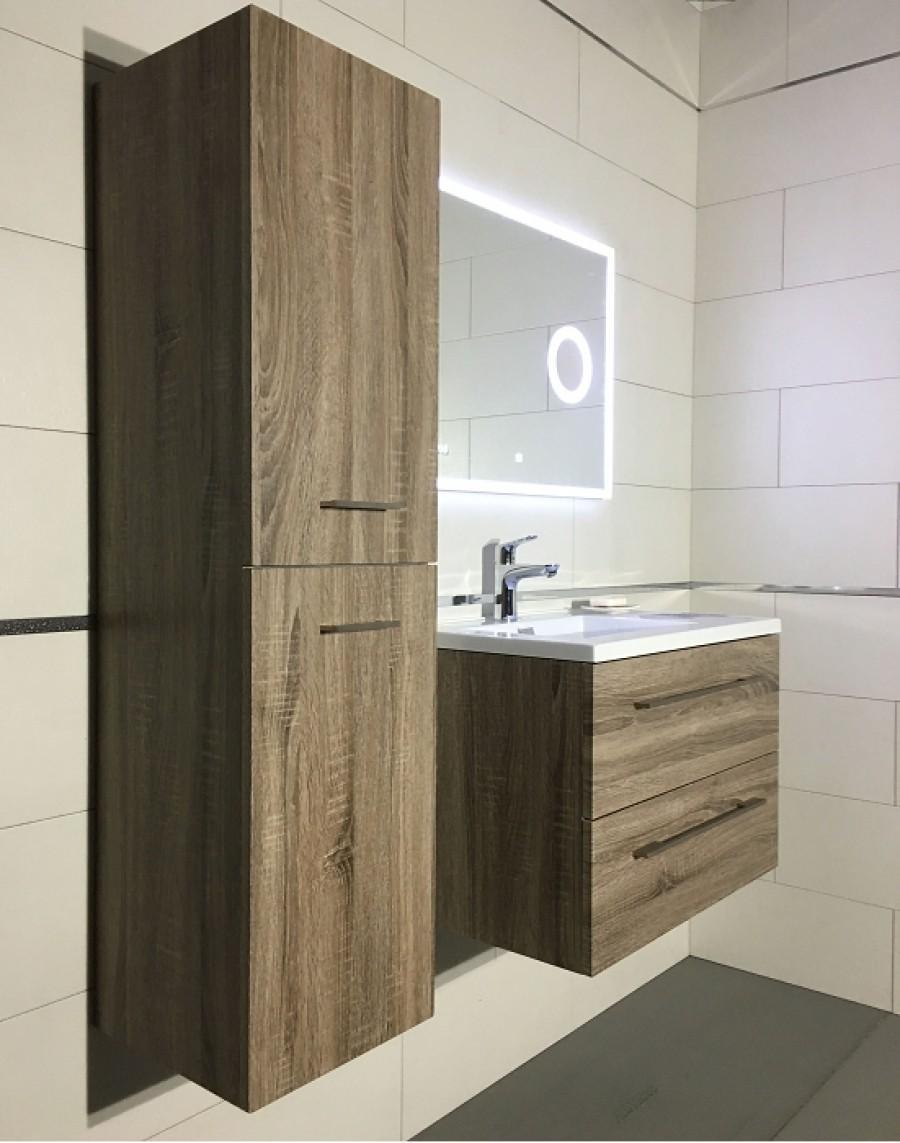 Meuble simple vasque 80cm jupiter 2 0 bois fonc miroir lite - Meuble bois fonce ...