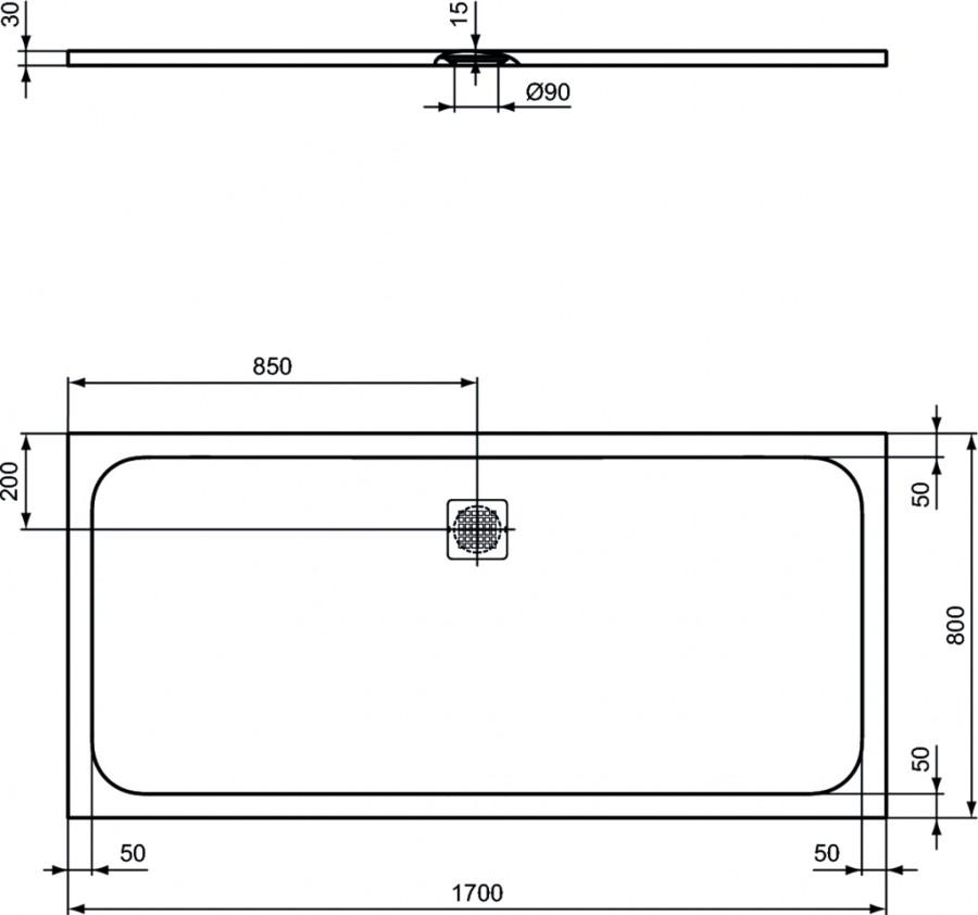 receveur de douche ultra flat s noir 170x80. Black Bedroom Furniture Sets. Home Design Ideas