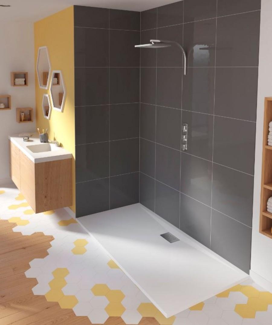 receveur rectangulaire en biocryl kinesurf blanc extra plat 70x90. Black Bedroom Furniture Sets. Home Design Ideas